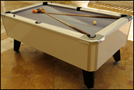 White Masterpiece Pool Table   w/ snowdrift felt